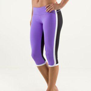 LULULEMON Ignite Crop Purple Black Legging 2